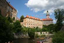 Český Krumlov Schloss und Kanufahrer